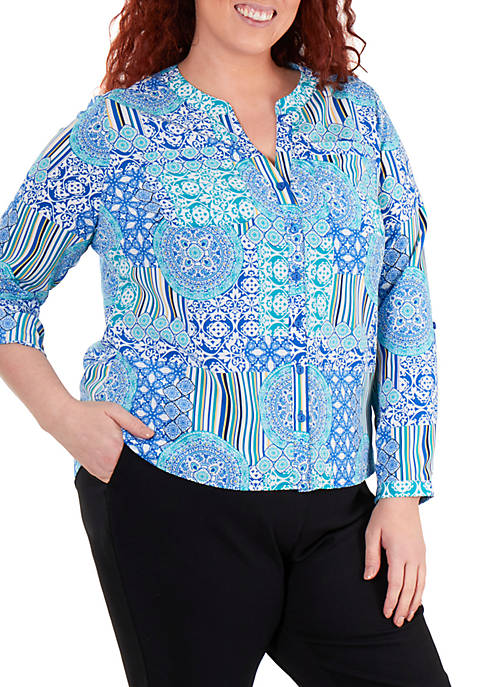 Kim Rogers® Plus Size Printed Crinkle Button Up