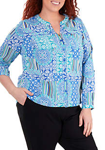 Kim Rogers® Plus Size Printed Crinkle Button Up Shirt
