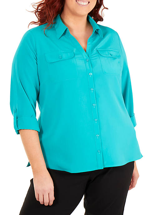 Plus Size Crinkle Utility Top