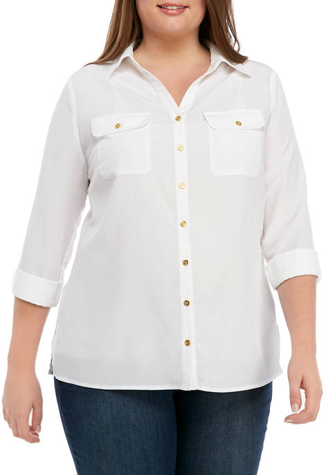 Kim Rogers® Plus Size Solid Crinkle Utility Shirt