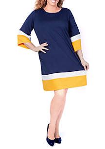 Plus Size Colorblock A-Line Dress