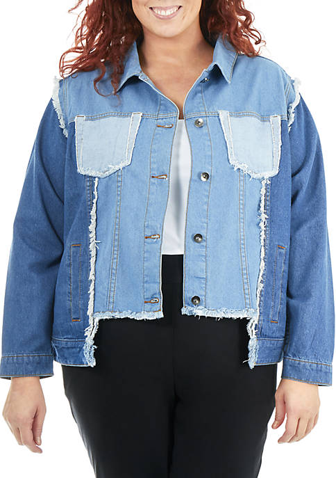 NY Collections Plus Size Multi-Wash Denim Jacket