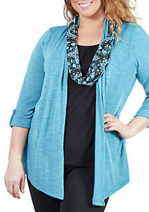 Plus Size Cardigan 2-Fer with Print Scarf