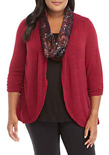 Plus Size Hacci 3Fer with Velvet Scarf