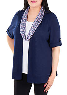 Kim Rogers® Plus Size Elbow Sleeve Slub 3Fer