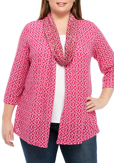Kim Rogers® Plus Size 3/4 Sleeve 3Fer Top