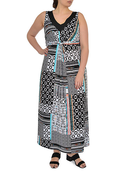 Kim Rogers® Plus Size Sleeveless Maxi Patchwork Dress