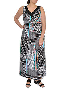 Plus Size Sleeveless Maxi Patchwork Dress With Beads