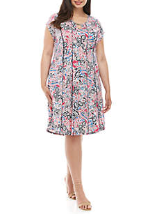 Kim Rogers® Plus Size Keyhole Neck Fit and Flare Dress
