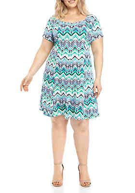 d408bb8c79c768 Kim Rogers® Plus Size Cap Sleeve Ruched Front Dress ...