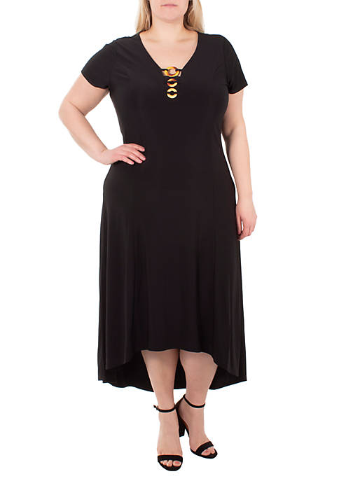 Plus Size Circle Ring Neck High Low Dress