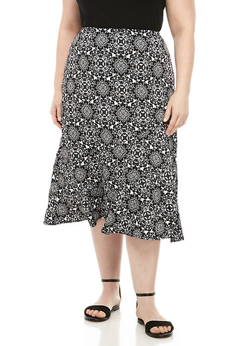 Kim Rogers® Plus Size Seamed ITY Skirt