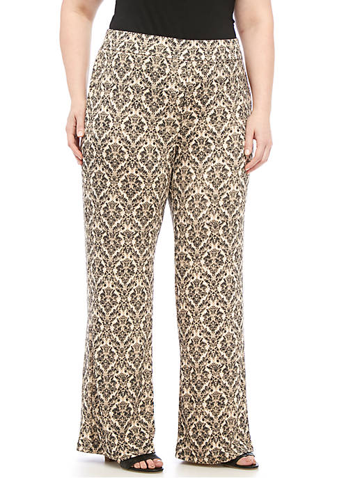 Kim Rogers® Plus Size Leg Medallion Print Pants