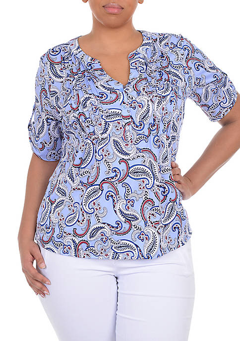 Kim Rogers® Plus Size Short Sleeve Knit Pleat
