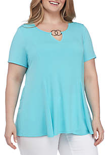 Plus Size Double Ring Keyhole Neck Top