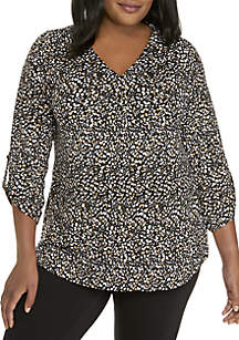 Plus Size Printed 3/4 Sleeve Blouse
