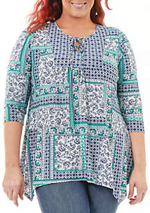Plus Size 3/4 Sleeve Print Top
