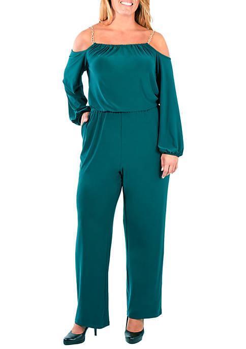 NY Collections Plus Size Cold Shoulder Halter Jumpsuit