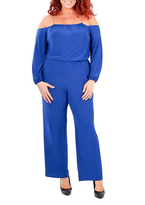 Plus Size Cold Shoulder Halter Jumpsuit