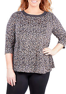 Plus Size Printed Swing Top