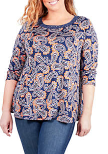Plus Size 3/4 Sleeve Paisley Print Embellished Top