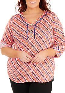 Plus Size 3/4 Roll-Tab Sleeve 1/4 Zip Plaid Top