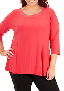Kim Rogers® Plus Size Embellished Neck Swing Top