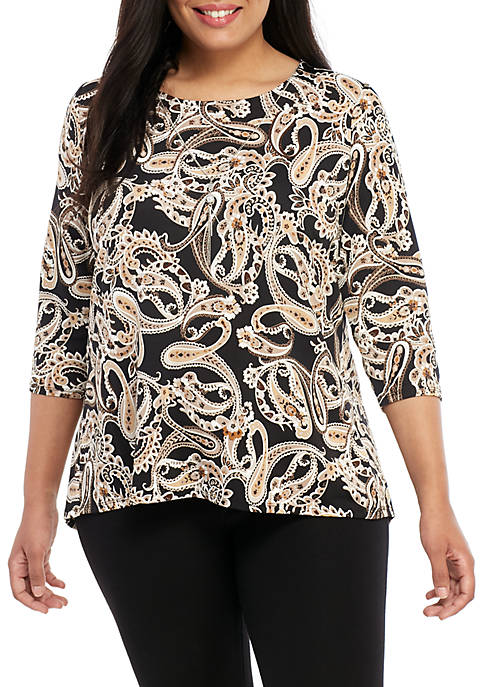 Kim Rogers® Plus Size 3/4 Sleeve Necklace Top