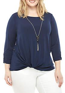Kim Rogers® Plus Size 2 Piece Dressing Knit Top