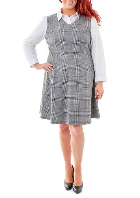 Plus Size Plaid Dress with Oxford Blouse