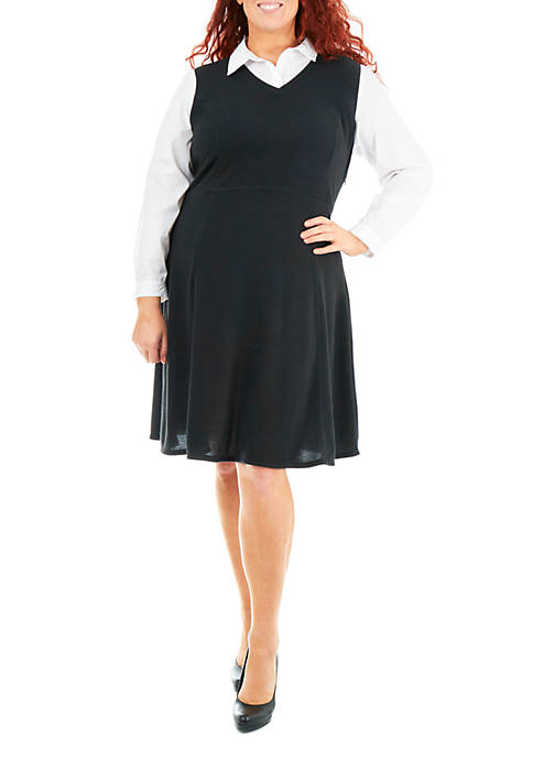Plus Size Solid Dress with Oxford Blouse