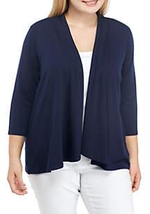 Plus Size 3/4 Sleeve Ruffle Front Cardigan