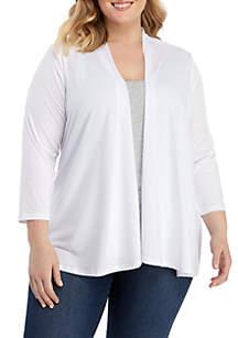 Kim Rogers® Plus Size 3/4 Sleeve Cardigan