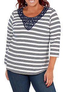 Plus Size Crochet Trim Stripe Top