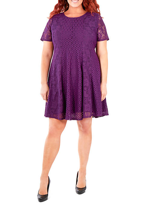 NY Collections Plus Size Dual Lace Panel Dress