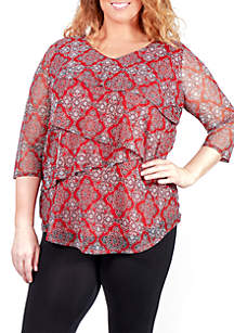 Plus Size Tiered V-Neck Top