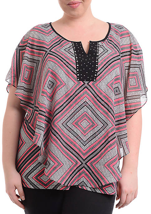 Kim Rogers® Plus Size Short Sleeve Pink Print