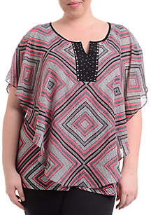 Plus Size Short Sleeve Pink Print Poncho with Bling