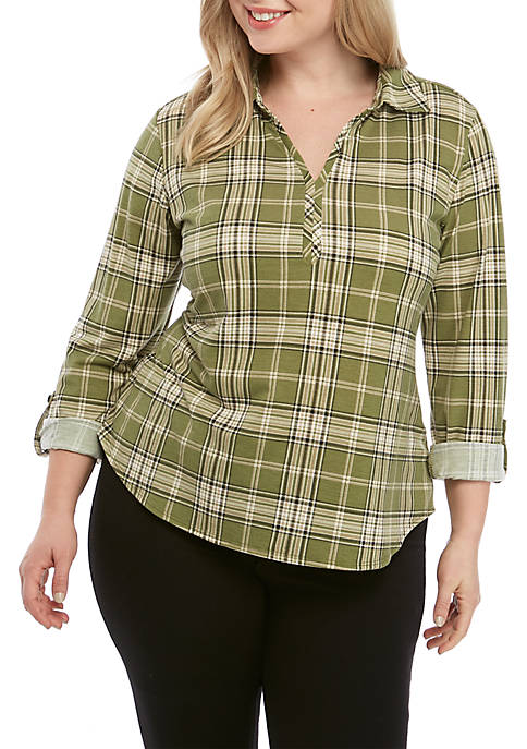 Plus Size Roll Tab Sleeve Top