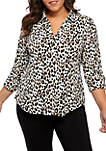 Plus Size Roll Tab Printed Top