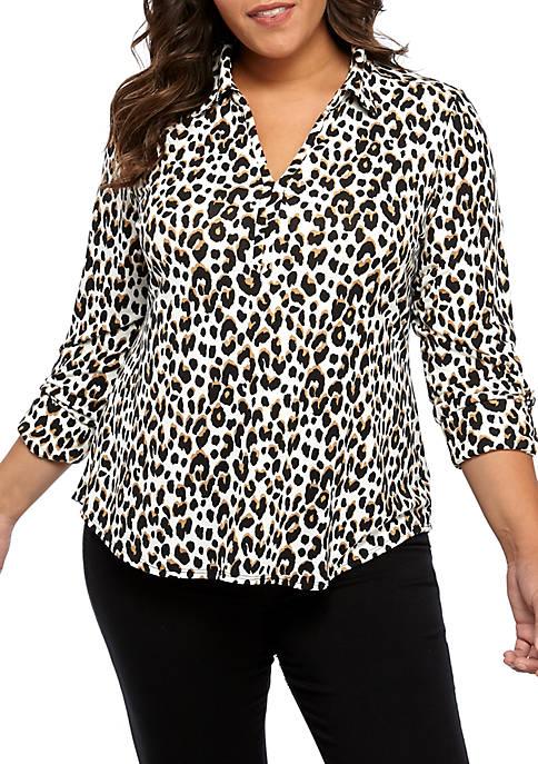 Kim Rogers® Plus Size Roll Tab Printed Top