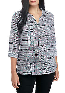 Plus Size Printed Button-Up Shirt