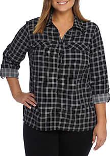 Kim Rogers® Plus Size Print Utility Button Down Woven Top