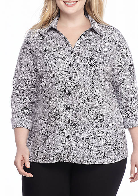 Kim Rogers® Plus Size Print Utility Button Down