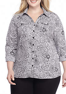Plus Size Print Utility Button Down Woven Top