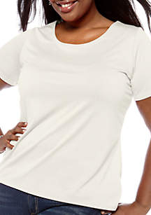 Kim Rogers® Plus Size Solid Short Sleeve Knit Top