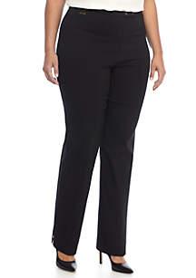 Plus Size Snap Woven Stretch Pant