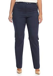 Plus Size Snap Woven Stretch Pant - Short Length
