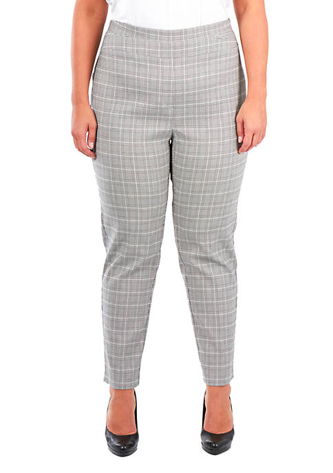 NY Collections Plus Size Plaid Pants
