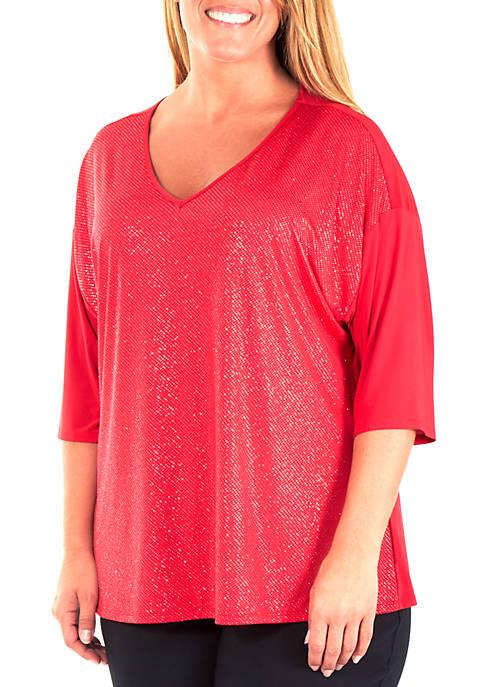Plus Size Sequin V-Neck Top